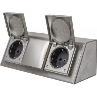 unterbau und aufbausteckdose 3 fach edelstahl leuchten. Black Bedroom Furniture Sets. Home Design Ideas